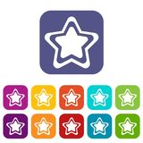 Star icons set. Vector illustration in flat style In colors red, blue, green and other Royalty Free Stock Photo