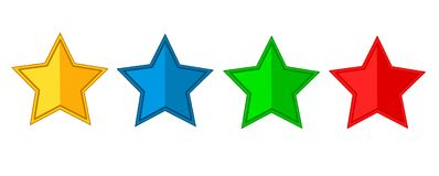 Star icons vector.Set of red,blue,green yellow stars. Star icons vector illustration isolated on white background royalty free illustration