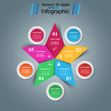 Star Infographics origami style Vector illustration. 3D infographic design template and marketing icons Stock Images