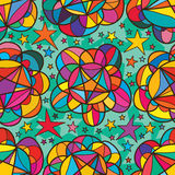 Star inside flower bud seamless patttern. This illustration is drawing and design star inside bud with colorful flower in stars background and seamless pattern royalty free illustration