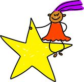 Star kid. Little ethnic girl sitting on a star - toddler art series Royalty Free Stock Photography