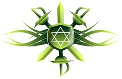 Star of king David on shield with swords Stock Photo