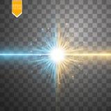 Star l'effetto della luce di esplosione e di scontro, collisione brillante al neon del laser circondata da stardust su fondo tras Fotografia Stock Libera da Diritti