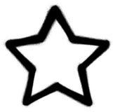 Star l'icona dello spruzzo dei graffiti nel nero sopra bianco Fotografia Stock