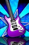 Star l'illustrazione viola della chitarra della roccia di burst Immagini Stock Libere da Diritti