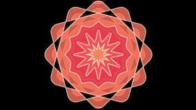 Star l'ornamento, motivo arancio su fondo nero, effetto del tunel Animazione astratta decorativa, film senza cuciture con colore illustrazione vettoriale