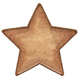 Star label. Star shape leather label, isolated stock photo