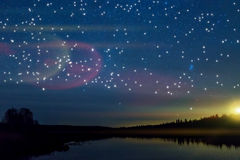 Star lake sky forest reflection Stock Photo