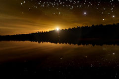 Star lake sky forest reflection Stock Image
