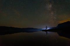 Star lake sky milky way Stock Photos