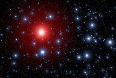 Star leader leadership space. Universe / Space abstract background / backdrop illustration. Sparking twinkling Star leader of red color which differs of other Royalty Free Stock Image
