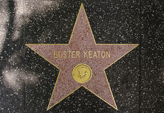 The star of legendar comedian actor Buster Keaton. On the walk of fame on Hollywood blvd, Los Angeles, California Royalty Free Stock Photography