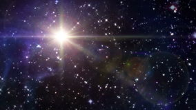 Star lens flare in space yellow. The mystery of star glowing in starry night stock video footage