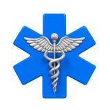 Star of Life Caduceus Symbol. Isolated on white background. 3D render Royalty Free Stock Photos