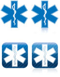 Star of Life - Rod of Asclepius. Emergency medical and rescue symbol, rod of asclepius Royalty Free Stock Photos