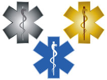 Star of Life Rod of Asclepius Illustration. Star of Life Rod of Asclepius Medical Symbol For Ambulance Isolated on White Background Illustration Stock Photography