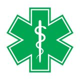 The Star of Life (with the staff of Asclepius). Emblem of The Emergency medical services, ambulance and paramedic services Stock Photos