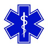 The Star of Life (with the staff of Asclepius). Modern symbol of The Emergency medical services, ambulance and paramedic services Stock Images