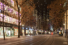 Star light on Bahnhofstrasse in Zurich at Christmas time royalty free stock image