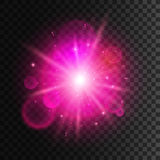 Star light with pink neon lens flare effect. Shining beams of sun sparkles. Glowing magic light with shiny halo on transparent background Royalty Free Stock Image