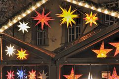 Star lights at christmas market, stuttgart Royalty Free Stock Image