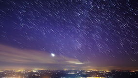 Star lights should leave traces of cities. Time L stock footage
