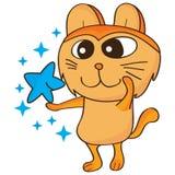 Star like cat. Illustration isolated white background star like cat orange blue color Stock Image