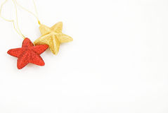 Star like christmas ornaments. Star-like christmas tree balls with, isolated Royalty Free Stock Photography