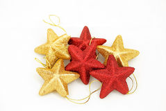 Star like christmas ornaments. Star-like christmas tree balls with, isolated Royalty Free Stock Images