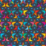 Star line color symmetry seamless pattern. This illustration is drawing and design star with line colorful background in symmetry seamless pattern Royalty Free Stock Images