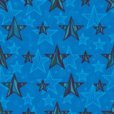 Star line drawing style seamless pattern. Illustration design stylish stars color symmetry seamless pattern love star blue color background texture textile Royalty Free Stock Photography
