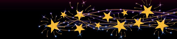 Star line gold glitter banner effect. This illustration is design star golden glitter star with line and bright effect in banner size Stock Photography