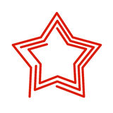 Star line style. Red Abstract sign on white background Royalty Free Stock Photo
