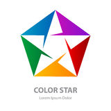Star logo, Abstract geometric symbol. Rainbow vector logotype. Design element on white background royalty free illustration