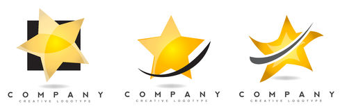 Star logo icon. Set with swash Stock Photography