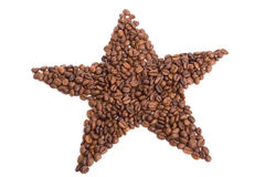 Star made of coffee beans Stock Images