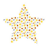 Star made from different many little stars on white Royalty Free Stock Image