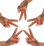 Star made of hands Stock Photography