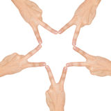 Star made of human hands Royalty Free Stock Photos