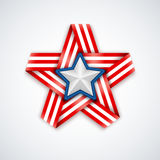 Star made of interlaced ribbon with american flag stripes and white star within. Vector illustration Royalty Free Stock Photography