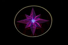 Star made of LED lights. Glowing in the night Stock Photography