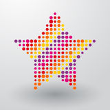 Star made up of small dots. Star composed of small colored dots vector illustration