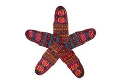 Star made of wool socks isolated Stock Photography