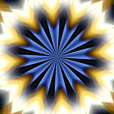 Star mandala design, abstract background. Star mandala design in blue, yellow and white hues. Hypnotic background stock illustration