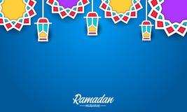 Star mandala geometrical pattern pop color with flat fanoos lantern lamp for ramadan. Star mandala geometrical pattern pop color with flat fanoos lantern lamp royalty free illustration