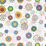 Star mandala line style seamless pattern. This illustration is design star mandala with line style decoration in seamless pattern on white color background Royalty Free Stock Image