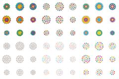 Star mandala line style set. This illustration is design 9 style star mandala line style in isolated set on white color background Stock Images