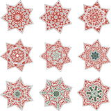 Star mandalas. Set of nine mandalas in the form of stars in red - green color scheme Royalty Free Stock Photos