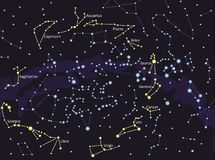 Capricorn, Aquarius,Pisces,Aries, Taurus,Gemini,Cancer,Leo,Virgo,Libra,Scorpio,Sagittariu.Constellations, star map. Science astron stock illustration