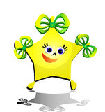 Star mascot. A happy cartoon star girl with bows on head Royalty Free Stock Photos